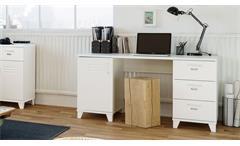 Schreibtisch FACTORY 30 Retro Tisch weiß mit Spind Schubkästen 140x60