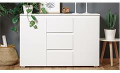 Sideboard Blanc 4 grifflose Kommode Anrichte Schrank weiß 2-türig 120x80 cm