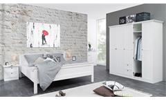 Kleiderschrank Landwood 19 Drehtürenschrank Schrank weiß 190x200 cm Landhaus Stil