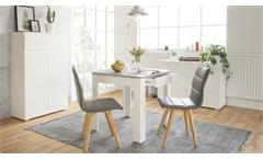 Küchentisch OSLO Esstsich weiß und Beton mit Schubkasten 80x80
