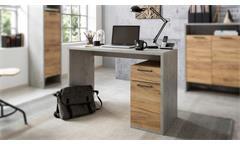 Schreibtisch Momo Bürotisch Computertisch Home Office in Beton grau Honig Eiche