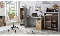 Büroset 1 MOMO Schreibtisch Regal Home Office Beton grau Honig Eiche