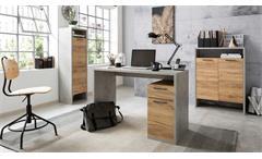 Büroset 2 MOMO Schreibtisch Regal Home Office Beton grau Honig Eiche