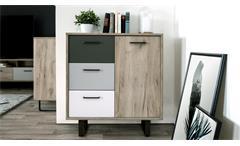 Kommode Orlando 1 Grey Craft Oak Farbmix Sideboard Metallkufen schwarz