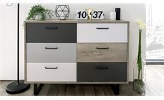 Kommode Orlando 2 Grey Craft Oak Farbmix Sideboard Metallkufen schwarz