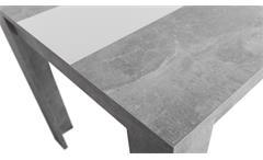 Esstisch Niklas Küchentisch Strukturbeton Optik mit Wendeplatte in schwarz weiß