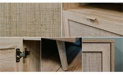 Esszimmer Set Speisezimmer Bali 3-tlg. Sonoma Eiche Rafia Massivholz 160x90 cm
