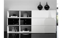 Sideboard Toro 101 Kommode Highboard weiß und schwarz Hochglanz lackiert
