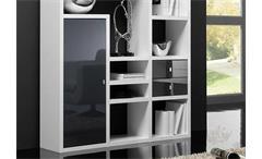 Regal Toro 100 Anbauwand Wohnwand weiß und schwarz Hochglanz