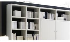 Regalwand Regal Wohnwand Anbauwand Toro 10 System weiß Hochglanz Lack 272x221 cm