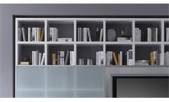 Wohnwand Regalwand Schrankwand Toro 36 System weiß matt Lack Glas satiniert