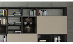 Regalwand Wohnwand Schrankwand Toro 80 System schwarzbraun Eiche beige matt Lack