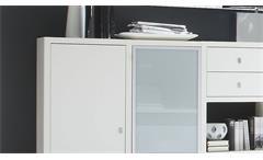 Sideboard Anrichte Kommode Toro 79 System weiß Hochglanz Lack Glas satiniert
