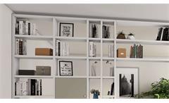 Regalwand Raumteiler Regal Schrankwand Toro 113 System weiß beige matt Lack