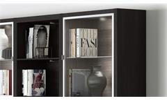Regalwand Regal Highboard Wohnzimmer Schrank Toro 74 System schwarzbraun Eiche