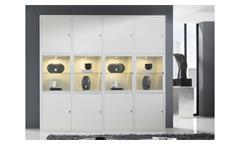 Schrankwand Highboard Vitrine Regalwand Toro 63 System weiß Hochglanz Lack Glas