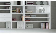 Regalwand Wohnwand Schrankwand Bücherregal Toro 53 System weiß Hochglanz Lack