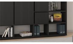 Regalwand Wohnwand Schrankwand Bücherregal Toro 85 System schwarzbraun Eiche