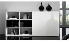 Sideboard Anrichte Kommode Schrank Toro 23 System weiß schwarz Hochglanz Lack