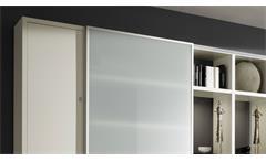 Regalwand Wohnwand Schrankwand Toro 28 System weiß Hochglanz Lack Glas satiniert