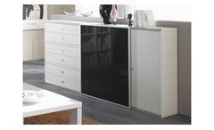 Sideboard TORO 6 System weiß Hochglanz lackiert und schwarz