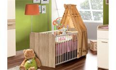 Babybett Winnie Babyzimmer Sonoma Eiche Dekor weiß 2 Schlupfsprossen 70x140cm