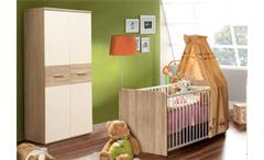 Babyzimmer WINNIE 7-teilig Sonoma Eiche und weiß Babybett Wickelkommode Schrank