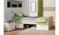 Jugendbett Winnie Jugendzimmer Bett in Sonoma Eiche und weiß 90x200 cm
