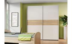 Jugendzimmer Winnie 4-teilig Bett Sideboard Schrank Nachttisch Sonoma Eiche weiß