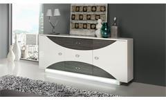 Sideboard Wave Kommode Anrichte in weiß hochglanz und Eiche grau mit LED