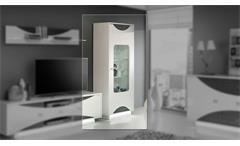 Vitrine Wave Glasvitrine Schrank Wohnzimmer weiß hochglanz Eiche grau mit LED