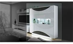 Highboard Wave Vitrine Schrank Buffet in weiß Hochglanz und Eiche grau mit LED
