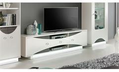 Tv-Board Wave Lowboard Unterschrank in weiß hochglanz und Eiche grau mit LED