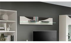 Wandboard WAVE Regal weiß Hochglanz und Eiche grau mit LED
