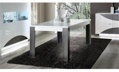Esstisch Wave Tisch Esszimmertisch weiß hochglanz Eiche grau ausziehbar 160-200