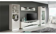 Wohnwand Wave Anbauwand Wohnzimmer in weiß hochglanz und Eiche grau mit LED