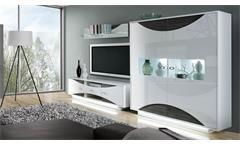 Wohnwand 2 Wave Anbauwand Wohnzimmer in weiß Hochglanz und Eiche grau mit LED