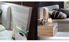 Bettanlage Rondino Futonbett in Sandeiche und weiß Hochglanz mit LED 180x200 cm