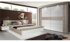 Schlafzimmer 1 Rondino Komplett Set in Sandeiche und weiß Hochglanz inkl. LED