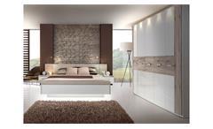 Schlafzimmer 2 Rondino Komplett Set in Sandeiche und weiß Hochglanz inkl. LED