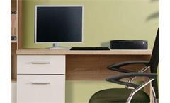 Schreibtisch Winnie Jugendzimmer Sonoma Eiche weiß mit 1 Tür und 1 Schubkasten