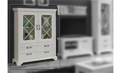 Vitrine Kashmir Highboard Schrank Buffet in Pinie weiß inkl. LED