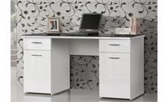 Schreibtisch Net 106 Home Office Bürotisch weiß hochglanz Platte Schwarzglas