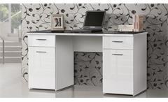 Schreibtisch Net106 Bürotisch in weiß Hochglanz Platte Glas schwarz 145x60 cm