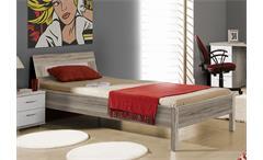 Bett Beach Kinderzimmerbett Einzelbett Jugendzimmerbettin Sandeiche weiß 90x200