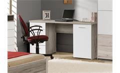Schreibtisch Beach PC-Tisch Computertisch Bürotisch Sandeiche und weiß