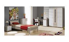Jugendzimmerset 1 Beach Jugendzimmer Schrank Bett Nako in Sandeiche und weiß