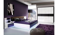 Schlafzimmer 1 Recover Schrank Bett Nako weiß Hochglanz Eiche schwarz mit LED