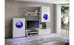 Wohnwand Skipper Anbauwand Wohnkombi Wohnzimmer weiß Hochglanz schwarz inkl. LED