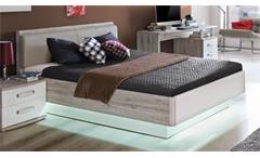 Bett Rondino Jugendzimmerbett Futonbett Sandeiche und weiß Hochglanz 140x200 cm